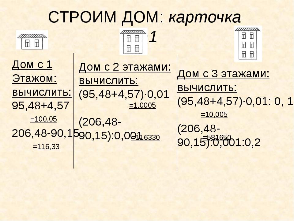СТРОИМ ДОМ: карточка №1 Дом с 1 Этажом: вычислить: 95,48+4,57 206,48-90,15 =1...