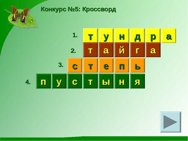 Конкурс №5: Кроссворд н т у д р а т а й г а 1. 2. с т е п ь 3. у я п с т ы н 4.