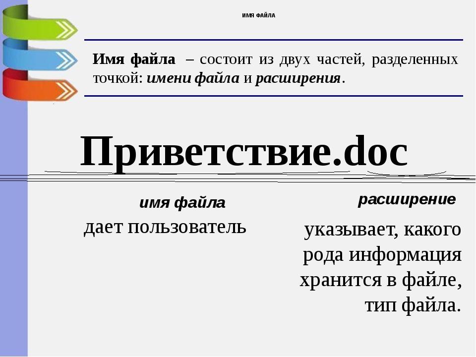 ИМЯ ФАЙЛА Имя файла – состоит из двух частей, разделенных точкой: имени файл...