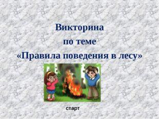 Викторина по теме «Правила поведения в лесу» старт