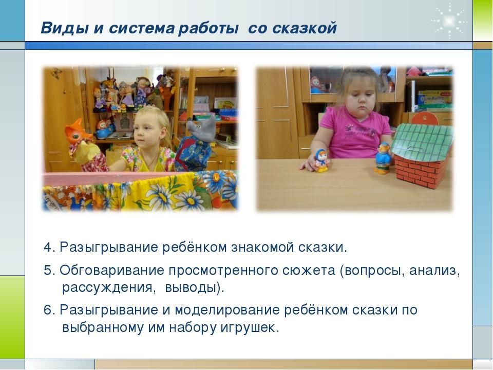 Виды и система работы со сказкой 4. Разыгрывание ребёнком знакомой сказки. 5....