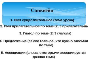 Синквейн 1. Имя существительное (тема урока) 2. Имя прилагательное по теме (2