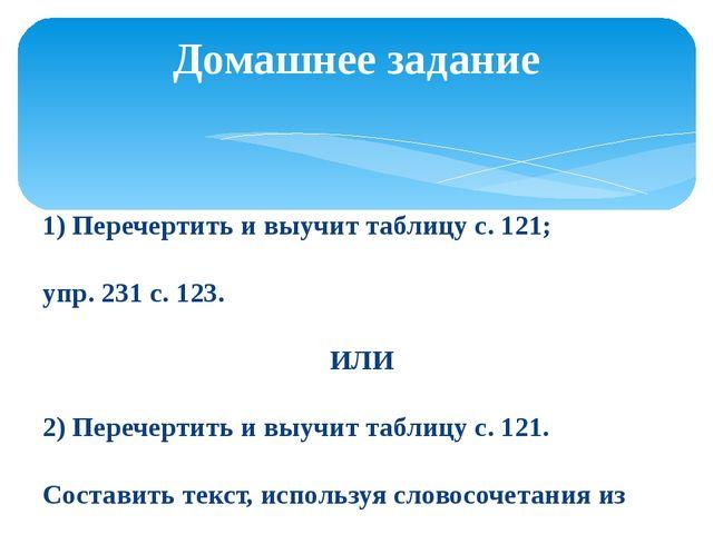1) Перечертить и выучит таблицу с. 121; упр. 231 с. 123. ИЛИ 2) Перечертить и...