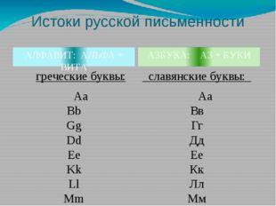 Истоки русской письменности АЗБУКА: АЗ + БУКИ АЛФАВИТ: АЛЬФА + ВИТА гречески