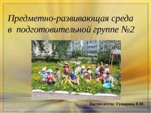 Предметно-развивающая среда в подготовительной группе №2 Воспитатель: Гумаро