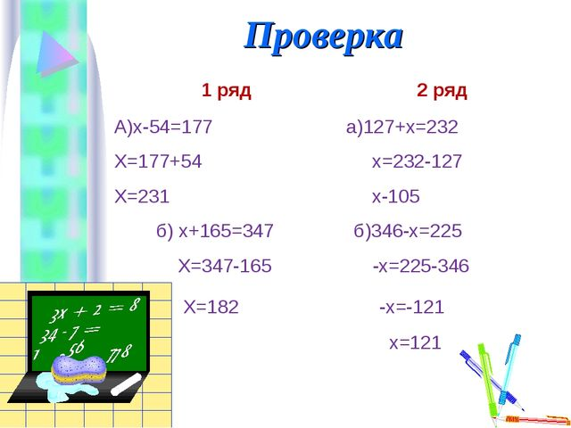 Проверка 1 ряд 2 ряд А)х-54=177 а)127+х=232 Х=177+54 х=232-127 Х=231 х-105 б)...