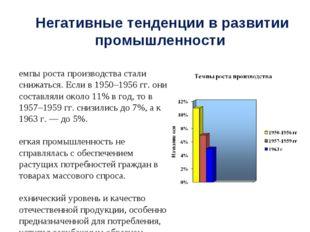 Негативные тенденции в развитии промышленности Темпы роста производства стали