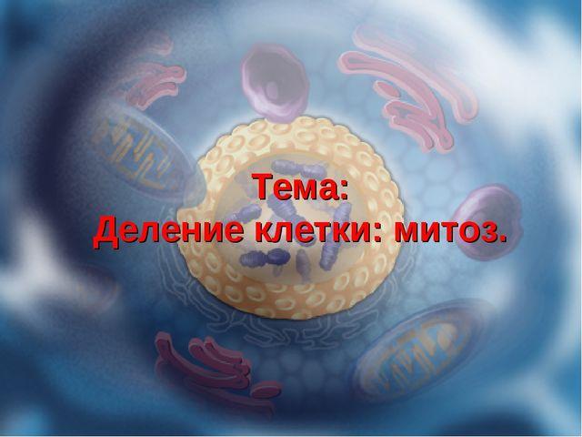 Тема: Деление клетки: митоз.