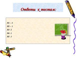 Ответы к тестам: А1 – 2 А2 – 1 А3 -2 А4 -1 А5 -3