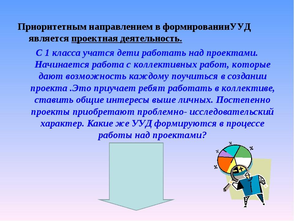 Приоритетным направлением в формированииУУД является проектная деятельность....