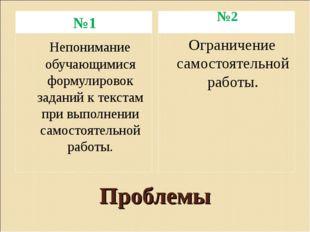 Проблемы №1 №2 Непонимание обучающимися формулировок заданий к текстам при вы
