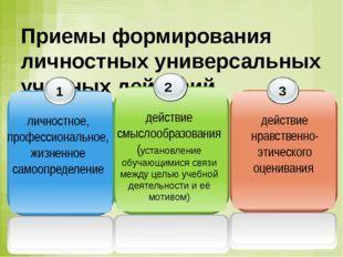 Приемы формирования личностных универсальных учебных действий 1 личностное, п