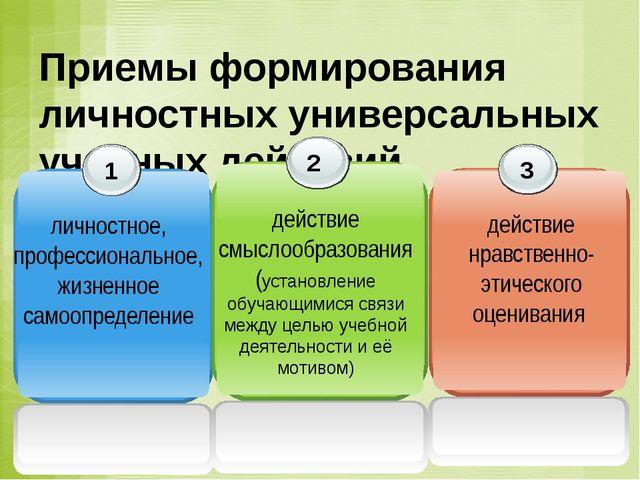 Приемы формирования личностных универсальных учебных действий 1 личностное, п...