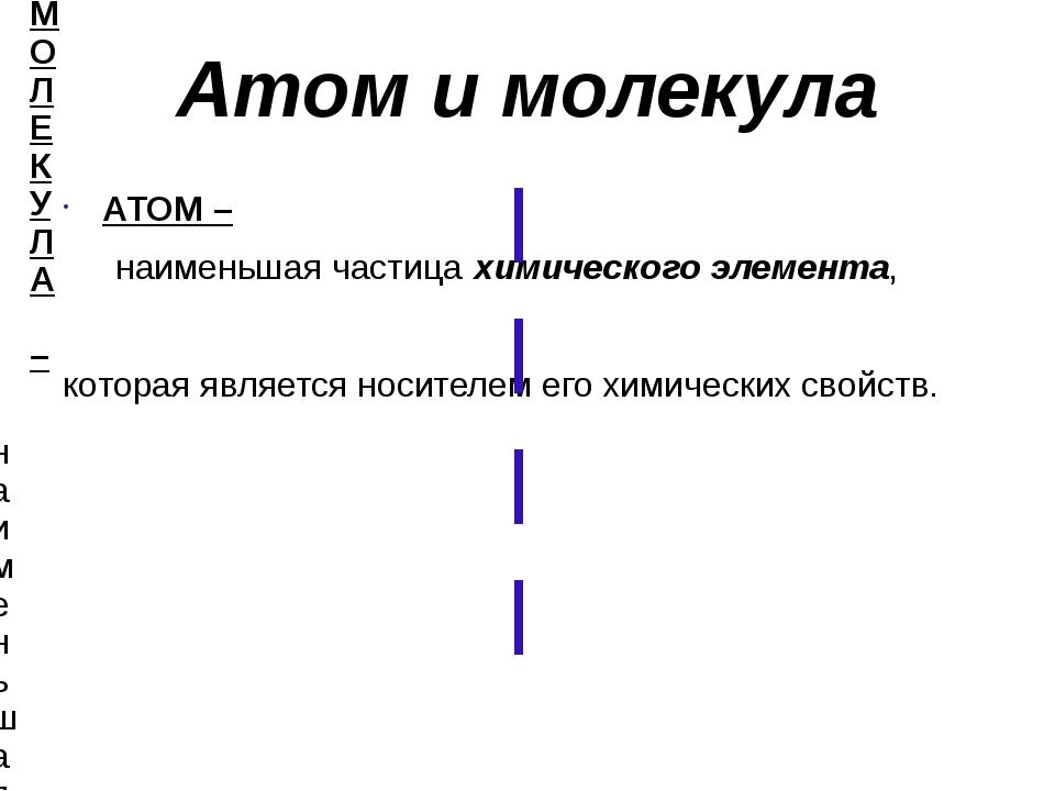 Атом и молекула АТОМ – наименьшая частица химического элемента, которая явля...