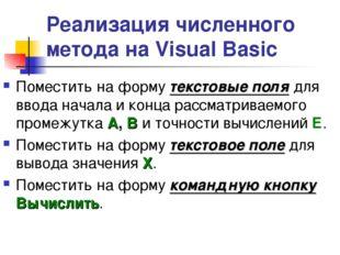 Реализация численного метода на Visual Basic Поместить на форму текстовые пол