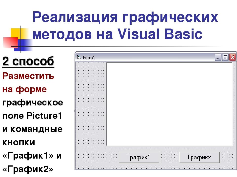 Реализация графических методов на Visual Basic 2 способ Разместить на форме г...