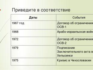 Приведите в соответствие Даты События 1967 год Договор об ограничении ОСВ-1 1
