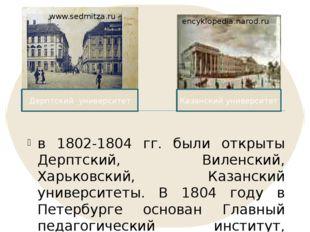 в 1802-1804 гг. были открыты Дерптский, Виленский, Харьковский, Казанский уни