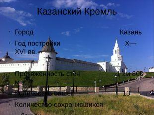 Казанский Кремль Город Казань Год постройки X—XVI вв. Протяженность стен 1