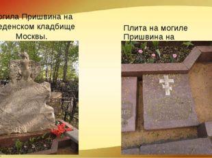 Плита на могиле Пришвина на Введенском кладбище Москвы. Могила Пришвина на Вв