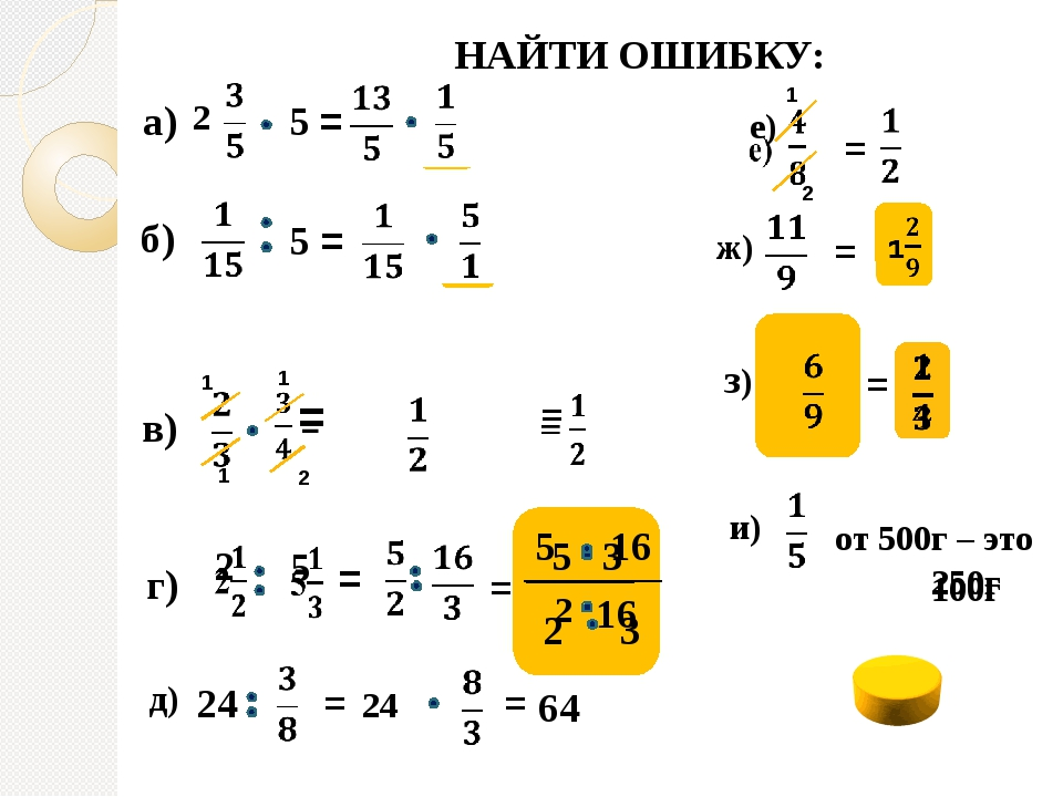 а) 2 5 = б) 5 = в) 1 2 г) = НАЙТИ ОШИБКУ: д) 24 = 24 1 2 1 1 = ж) = = з) 1+5...