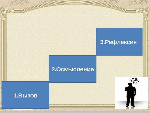 В основе методики критического мышления лежит трехступенчатая модель 1.Вызов...