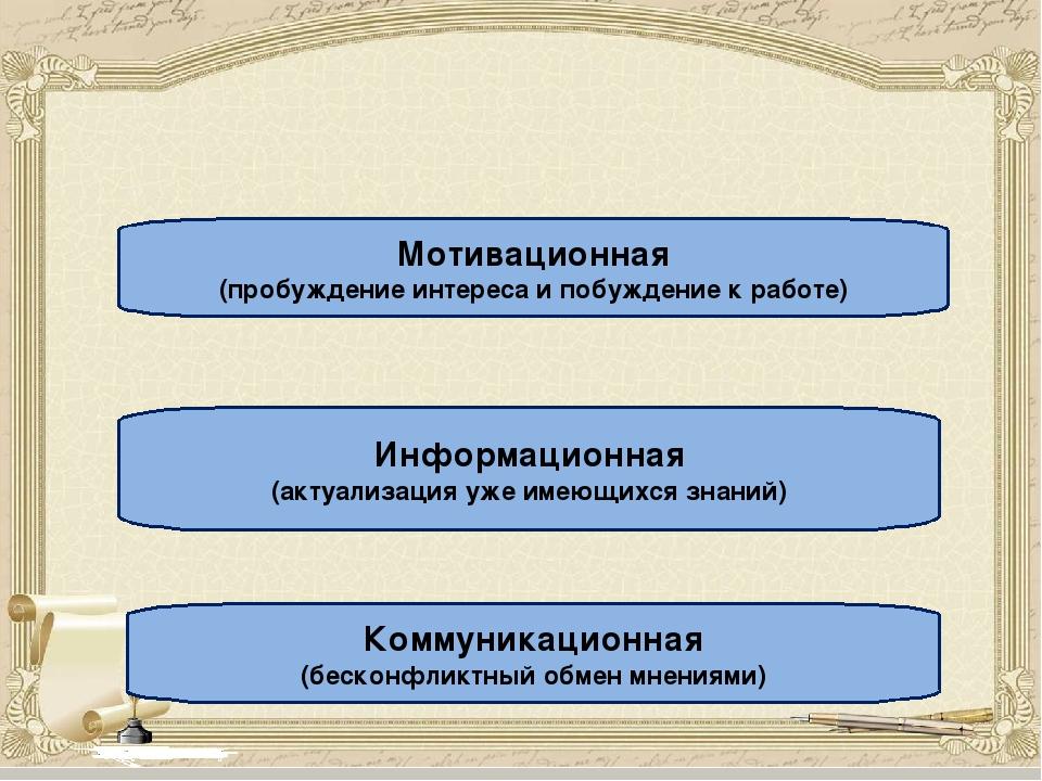 Функции стадии вызова: Мотивационная (пробуждение интереса и побуждение к ра...