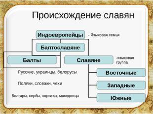 Происхождение славян - Языковая семья -языковая группа Русские, украинцы, бе