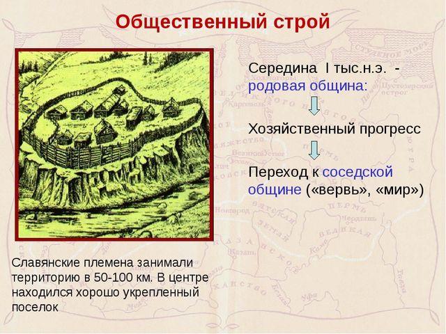 Общественный строй Середина I тыс.н.э. - родовая община:  Хозяйственный пр...