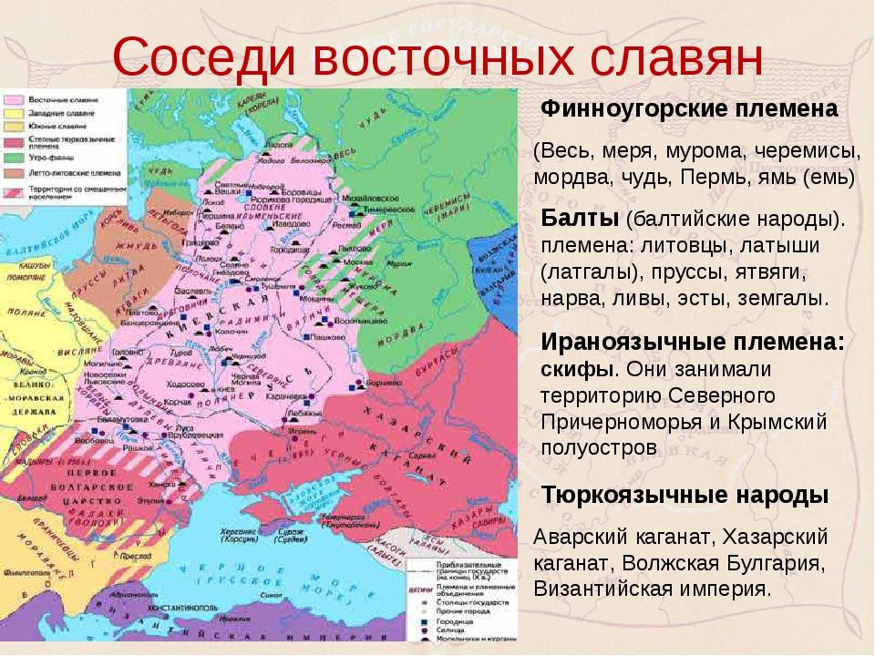 Соседи восточных славян Финноугорские племена (Весь, меря, мурома, черемисы,...