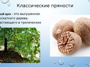 Классические пряности Мускатный орех - это высушенное семя мускатного дерева,