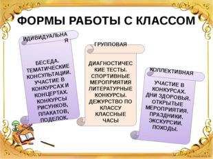 ФОРМЫ РАБОТЫ С КЛАССОМ ИДИВИДУАЛЬНАЯ БЕСЕДА. ТЕМАТИЧЕСКИЕ КОНСУЛЬТАЦИИ. УЧАСТ