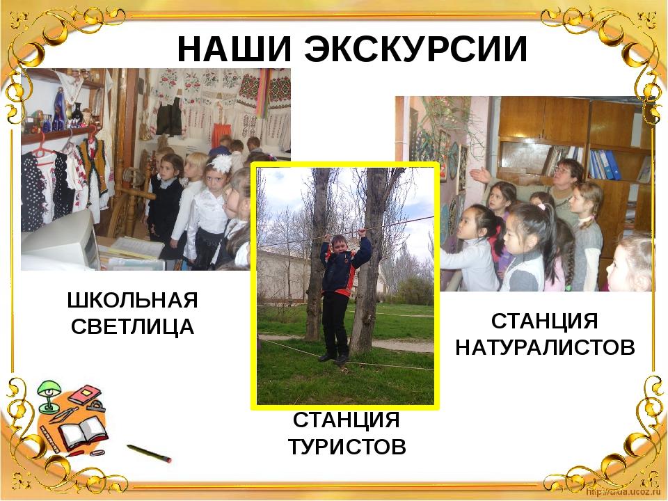 НАШИ ЭКСКУРСИИ ШКОЛЬНАЯ СВЕТЛИЦА СТАНЦИЯ ТУРИСТОВ СТАНЦИЯ НАТУРАЛИСТОВ