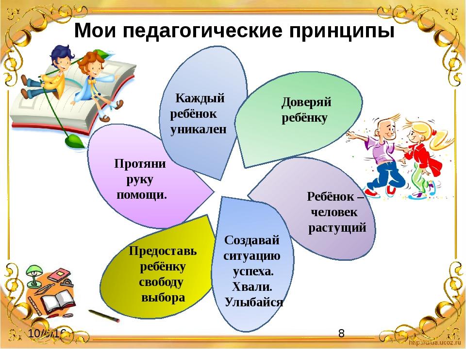 Мои педагогические принципы Доверяй ребёнку Каждый ребёнок уникален Создавай...