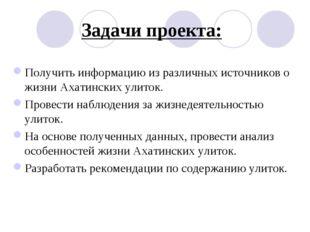 Задачи проекта: Получить информацию из различных источников о жизни Ахатински