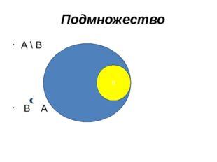 А \ В В А В Подмножество