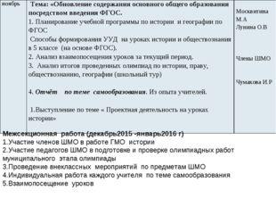 Межсекционная работа (декабрь2015 -январь2016 г) 1.Участие членов ШМО в работ