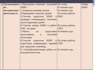 2Организационно-методическая деятельность1.Проведение плановых заседаний ШМ