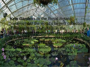 Kew Gardens or the Royal Botanic Gardens hold the world's largest collectio