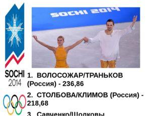 1.ВОЛОСОЖАР/ТРАНЬКОВ (Россия)- 236,86 2.СТОЛБОВА/КЛИМОВ (Россия)- 218,6