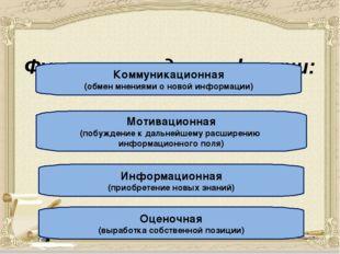 Функции стадии рефлекии: Коммуникационная (обмен мнениями о новой информации
