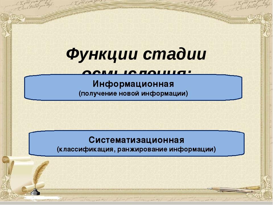 Функции стадии осмысления: Информационная (получение новой информации) Систе...