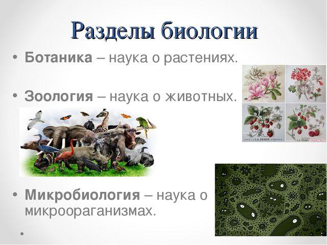 Разделы биологии Ботаника – наука о растениях. Зоология – наука о животных. М...