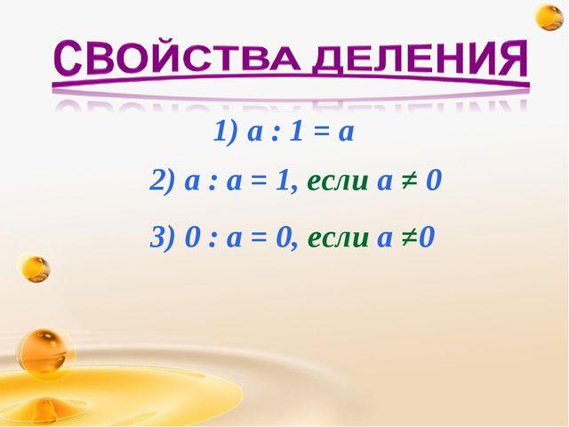 1) а : 1 = а 2) а : а = 1, если а ≠ 0 3) 0 : а = 0, если а ≠0
