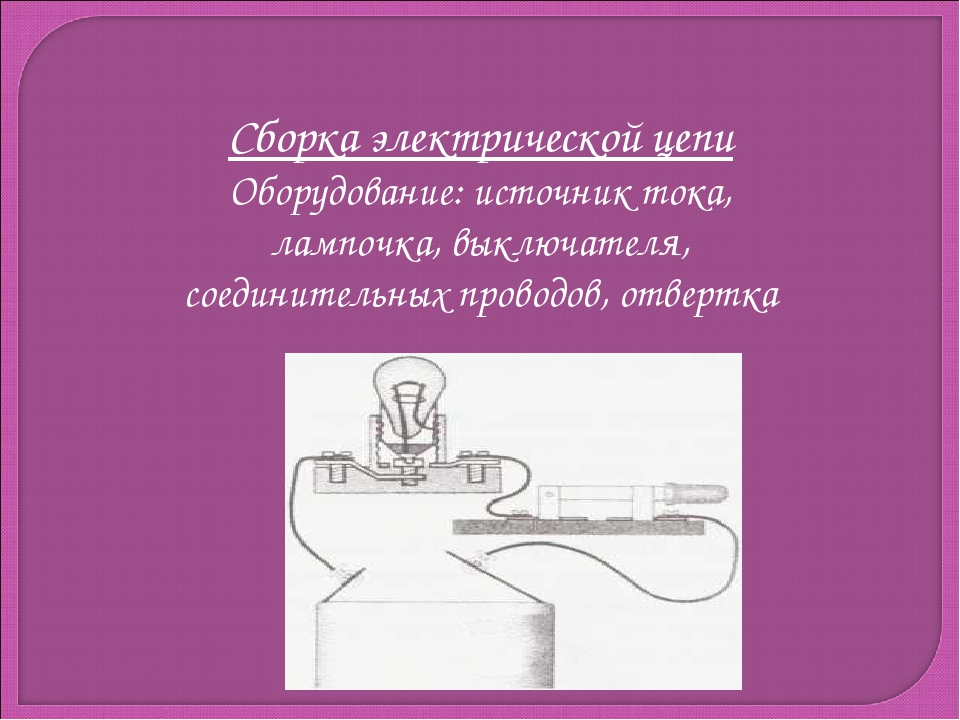 Сборка электрической цепи Оборудование: источник тока, лампочка, выключателя,...