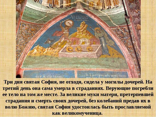Три дня святая София, не отходя, сидела у могилы дочерей. На третий день она...