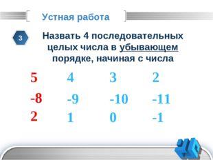 Устная работа 3 Назвать 4 последовательных целых числа в убывающем порядке, н
