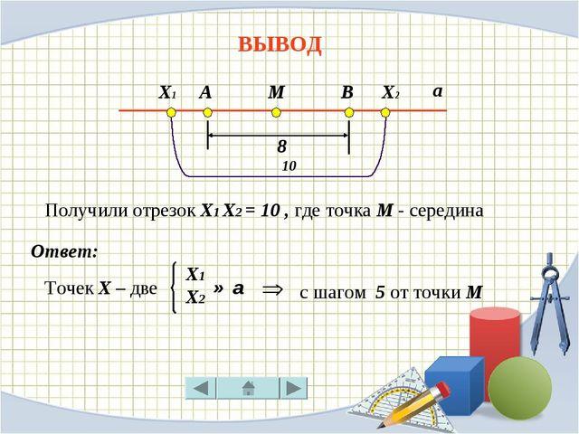 ВЫВОД Точек Х – две с шагом 5 от точки М Ответ: А М В 8 а Х1 Х2 10 Х1 Х2 ∈ а...