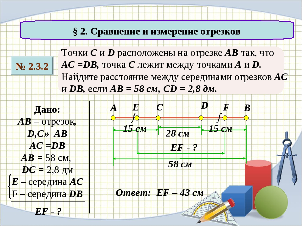 § 2. Сравнение и измерение отрезков № 2.3.2 Точки C и D расположены на отрез...