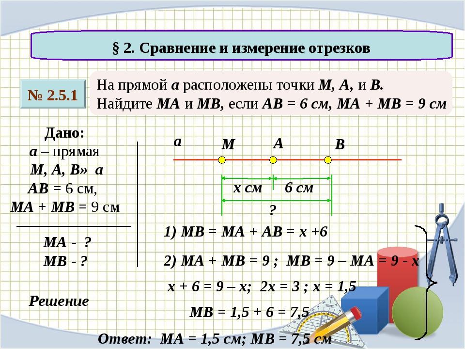 № 2.5.1 § 2. Сравнение и измерение отрезков На прямой а расположены точки М,...